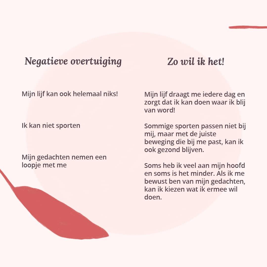 Oefening negatieve overtuigingen lichaam